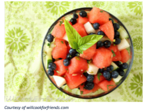 Watermelon, Apple, and Blueberry salad