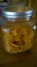 cheese squares in jar